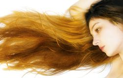 Woman with long beautiful hair royalty free stock images