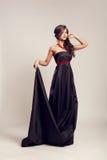 Woman in long black dress Royalty Free Stock Photo