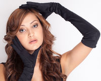 Woman in Long Black Gloves Royalty Free Stock Photography
