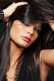 Woman with long black hair. Stock Photography