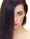 Woman with long black hair Royalty Free Stock Image