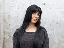 Woman with long black hair stock photos
