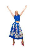 The woman in long blue folral dress isolated on white Royalty Free Stock Photos