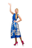 The woman in long blue folral dress isolated on white Royalty Free Stock Photography