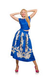 The woman in long blue folral dress isolated on white Royalty Free Stock Images