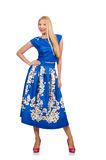 The woman in long blue folral dress  on white Royalty Free Stock Photo
