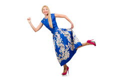 The woman in long blue folral dress  on white. Woman in long blue folral dress  on white Royalty Free Stock Image