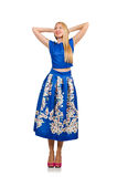 The woman in long blue folral dress  on white Royalty Free Stock Images