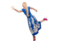 The woman in long blue folral dress  on white. Woman in long blue folral dress  on white Stock Photography