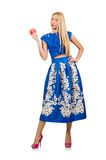 The woman in long blue folral dress  on white Stock Photo