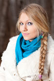 Woman with a long braid Royalty Free Stock Image
