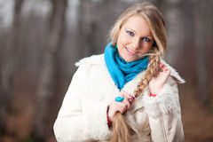 Woman with a long braid Stock Image