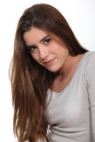 Woman with long brown hair Royalty Free Stock Photography