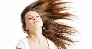 Woman with long brown hair stock photo