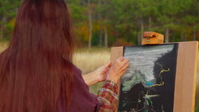Woman With Long Brown Hair Drawing A Picture At stock video