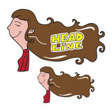 Woman long brown hair head line Royalty Free Stock Images