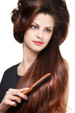 Woman with long brown hairs Royalty Free Stock Photo