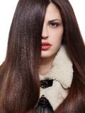 Woman with long brown hairs stock images