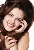 Woman with long brown hairs royalty free stock photography