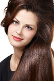 Woman with long brown hairs royalty free stock photos