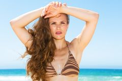 Woman with long brunette hair on seashore looking into distance. Blue sea, white sand paradise. Portrait of young woman with long brunette hair in bikini on the stock photography