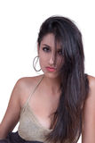 Woman with long brunette hair wear decollete dress Royalty Free Stock Photo