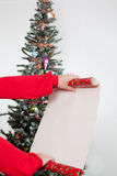 Woman with long christmas list Royalty Free Stock Image