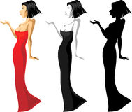 Woman in long cocktail dress three variants. Royalty Free Stock Image
