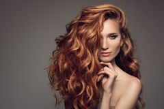 Portrait of woman with long curly beautiful ginger hair. Royalty Free Stock Images