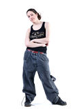 Woman with long curly hair in baggy clothes stock photography