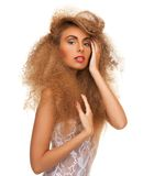 Woman with long curly hair Royalty Free Stock Photography
