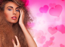 Woman with long curly hair Royalty Free Stock Photo