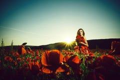 Woman in field of poppy seed stock image