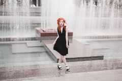 Beautiful attractive girl with red hair stock images