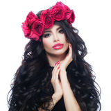 Woman with Long Dark Wavy Hair and Roses Wreath Isolat Stock Image