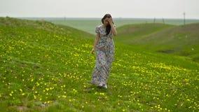 Woman in a Long Dress in a Field stock video footage
