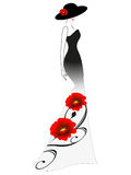A woman in a long dress and hat with red flower. Stock Photography