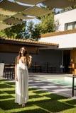Woman in long dress posing outdoor Royalty Free Stock Photos