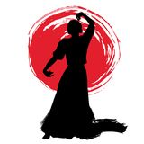 Woman in long dress stay in dancing pose. flamenco dancer Spanish regions of Andalusia, Extremadura Murcia. black silhouette Isola. Ted on white background brush Stock Photo