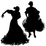 Woman in long dress stay in dancing pose. flamenco dancer Spanish regions of Andalusia, Extremadura Murcia. black silhouette Isola. Ted on white background brush Stock Photos