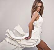 Woman posing long dress Stock Photography