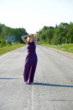 Woman in long evening dress Stock Photo