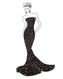 Woman in long evening dress Royalty Free Stock Images