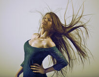 Woman with long flowing hair over retro style Royalty Free Stock Photography