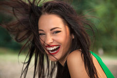 Woman with long flying hair posing Royalty Free Stock Photo