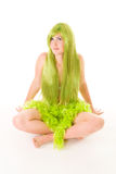 Woman with long green hair stock photo