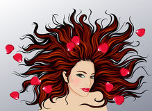 Woman with long hair. Vector illustration of woman with long hair and roses isolated on white background Royalty Free Stock Photo