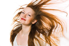 the woman with long hair Stock Images