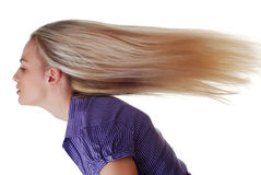 Woman with long hair. Beautiful blond woman with long hair on white background Royalty Free Stock Photography
