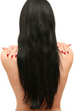 Woman with long hair is back Royalty Free Stock Photos